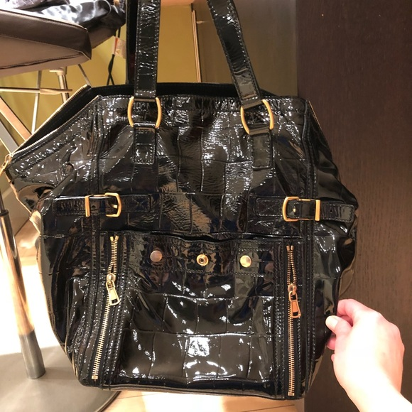d4c45a4e5c Yves Saint Laurent Bags | Ysl Downtown Croc Embossed Patent Leather ...